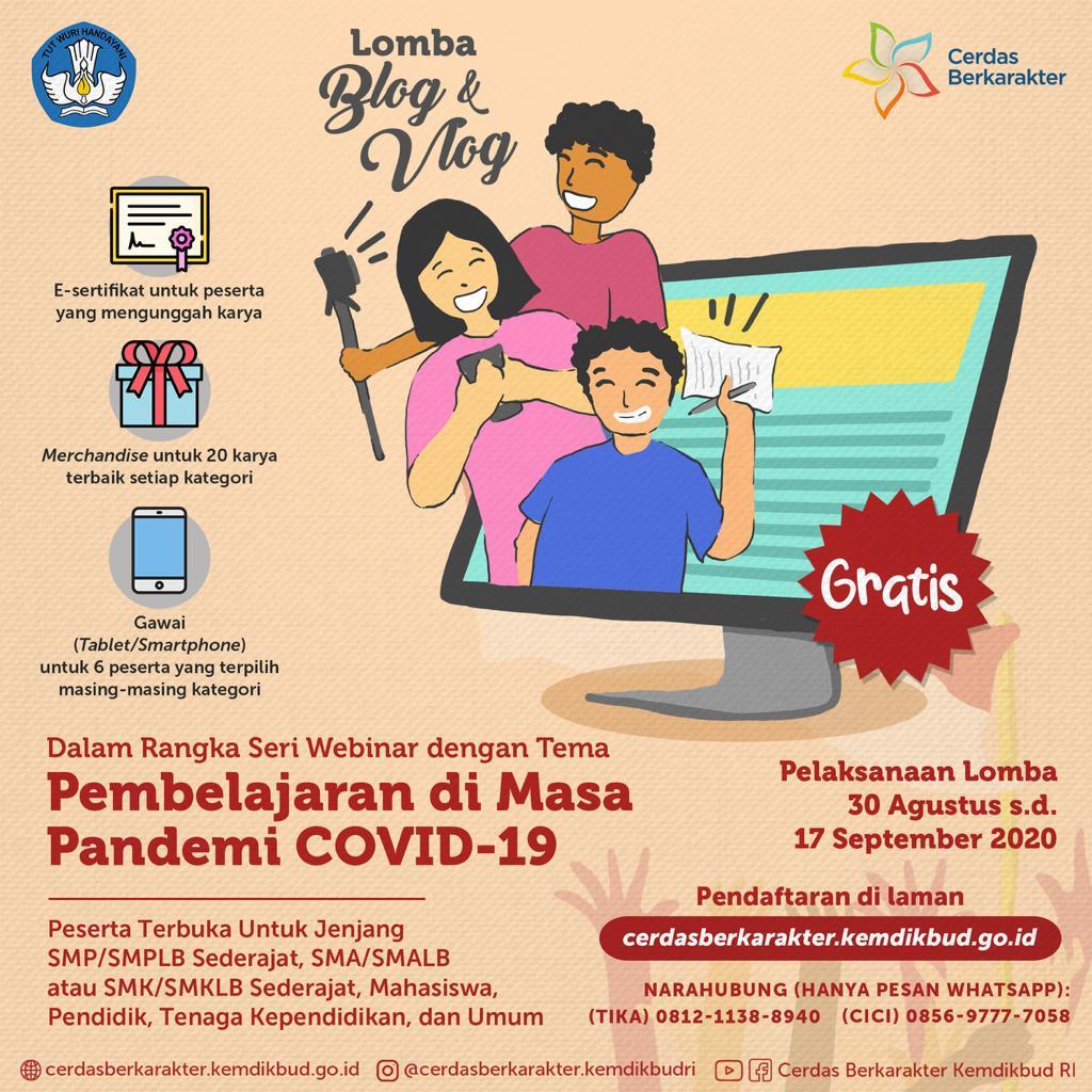 Kemendikbud Gelar Lomba Blog Dan Vlog Bertema Pembelajaran Di Masa Pandemi Covid 19 Kabupaten Pringsewu